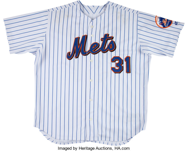 hot sale online adc46 64807 2001 Mike Piazza Game Worn New York Mets Jersey ...