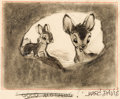 Animation Art:Production Drawing, Bambi Bambi and Thumper Concept Sketch Signed by Marc Davis (Walt Disney, 1942)....