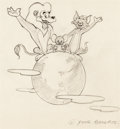 Animation Art:Production Drawing, Tom and Jerry MGM Employee Benefits Manual Preliminary Cover Sketch(MGM, 1940s-50s)....