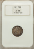 Bust Dimes, 1821 10C Large Date AU58 NGC. NGC Census: (25/79). PCGS Population(20/66). Mintage: 1,186,512. Numismedia Wsl. Price for p...