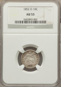 Seated Dimes: , 1852-O 10C AU53 NGC. NGC Census: (2/38). PCGS Population (2/21). Mintage: 430,000. Numismedia Wsl. Price for problem free N...