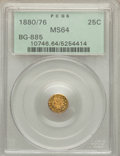 California Fractional Gold: , 1880/76 25C Indian Round 25 Cents, BG-885, R.3, MS64 PCGS. PCGSPopulation (66/20). NGC Census: (12/1). ...