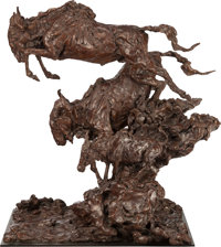 JONATHAN KENWORTHY (British/American, b. 1943) Leaping Wildebeest, 1991 Bronze with brown patina