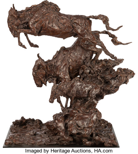 JONATHAN KENWORTHY (British/American, b. 1943) Leaping Wildebeest, 1991 Bronze with brown patina 26-1/4 inches (66.7 ...