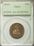 Proof Seated Quarters: , 1862 25C PR62 PCGS. PCGS Population (47/110). NGC Census: (16/107).Mintage: 550. Numismedia Wsl. Price for problem free NG...