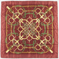 "Luxury Accessories:Accessories, Hermes 90cm Maroon & Gold ""Eperon d'Or,"" by Henri d'OriginySilk Scarf. Very Good Condition. 36"" Width x 36""Length..."