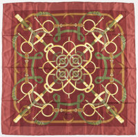 "Hermes 90cm Maroon & Gold ""Eperon d'Or,"" by Henri d'Originy Silk Scarf Very Good Condition 36"" Wi"