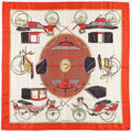 "Luxury Accessories:Accessories, Hermes 90cm Red & White "" Les Voitures a Transsformation,"" byFrancoise De La Perriere Silk Scarf. Good Condition.36""..."