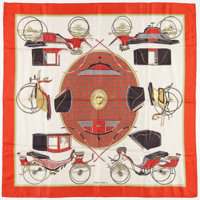 "Hermes 90cm Red & White "" Les Voitures a Transsformation,"" by Francoise De La Perriere Silk Scarf Good Con..."