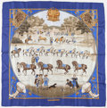 "Luxury Accessories:Accessories, Hermes 90cm Blue & White ""Presentation de Chevaux,"" by PhilippeLedoux Silk Scarf . Very Good Condition. 36"" Width x..."