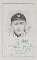 Autographs:Others, 1948 Ty Cobb Signed Original Artwork....
