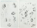 Original Comic Art:Miscellaneous, John Buscema - Wolverine and Others Preliminary Sketch PageOriginal Art Group (Marvel, c. 1988).... (Total: 2 Original Art)