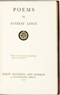 Books:Literature 1900-up, Everest Lewin. Poems. Elkin Mathews and Marrot, 1931. ...