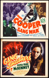 """Gang Smashers and Other Lot (Million Dollar Distributing Co., 1938 and 1940). Title Lobby Cards (2) (11"""" X 13.75 an..."""