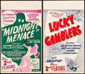 "Movie Posters:Black Films, Midnight Menace and Other Lot (All-American, 1946). Midget WindowCards (2) (8"" X 14"").. ... (Total: 2 Items)"