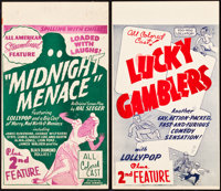 """Midnight Menace and Other Lot (All-American, 1946). Midget Window Cards (2) (8"""" X 14""""). ... (Total: 2 Items)"""