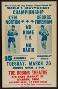 "Boxing Collectibles:Memorabilia, George Foreman vs. Ken Norton ""The Caracas Caper"" Robins Theatre Broadside. ..."