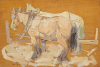 LEON GASPARD (Russian/American, 1882-1964) Harnessed Horses Oil on panel 4-3/4 x 7 inches (12.1 x