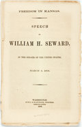 Books:Americana & American History, [Anti-Slavery]. [William H. Seward]. Freedom in Kansas, Speechof William H. Seward. In the Senate of the United States,...