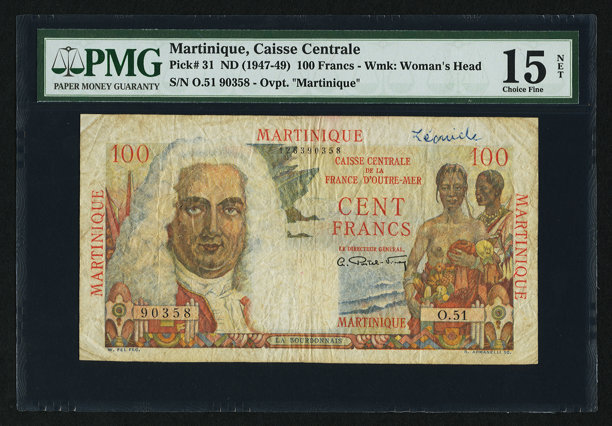 World Currency Martinique Caisse Centrale De La France D Outre Mer 100
