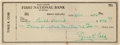 Baseball Collectibles:Others, 1954 Ty Cobb Signed Check. ...