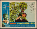 "Movie Posters:Science Fiction, Invasion of the Saucer-Men (American International, 1957). SignedLobby Card (11"" X 14""). Science Fiction.. ..."