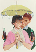 Mainstream Illustration, AMERICAN ARTIST (20th Century). Couple under Parasol, Coca Colaadvertisement, circa 1950s. Colored print. 23.75 x 20 in...