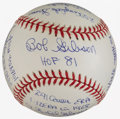 Baseball Collectibles:Balls, Bob Gibson Single Signed, Inscribed Stat Baseball....