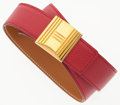 """Luxury Accessories:Accessories, Hermes 33cm Rouge Vif Courchevel Leather Belt with Gold Cadena LockHardware. Very Good Condition. 1"""" Width x 33"""" Leng..."""