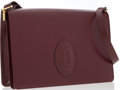 "Luxury Accessories:Accessories, Cartier Burgundy Leather Envelope Shoulder Bag. GoodCondition. Dimensions: 12"" Width x 8"" Height x 1"" Depth, 16""Shou..."