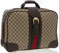 "Luxury Accessories:Accessories, Gucci Classic Monogram Canvas Travel Bag with Web Stripe . GoodCondition. 19"" Width x 13.5"" Height x 5"" Depth. ..."
