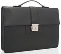 "Luxury Accessories:Accessories, Salvatore Ferragamo Black Leather Briefcase with Silver Hardware. Good Condition. 15.5"" Width x 11"" Height x 2"" Depth,..."