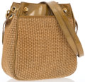 "Luxury Accessories:Bags, Bottega Veneta Gold Patent Leather & Beige Woven BurlapShoulder Bag. Good Condition. 8"" Width x 9"" Height x 3.5""Dept..."