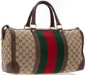"Luxury Accessories:Bags, Gucci Beige Monogram Canvas Boston Bag with Web Stripe. GoodCondition. 16"" Width x 8"" Height x 6"" Depth, 6"" HandleDr..."