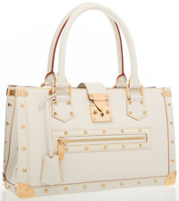 """Louis Vuitton White Suhali Leather Le Fabuleux Tote Bag Very Good to Excellent Condition 14"""" Wi"""