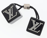 "Louis Vuitton Black Enamel & White Crystal Hairtie Very Good Condition 1"" Width x 4.5"" Length"