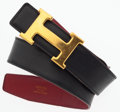 """Luxury Accessories:Accessories, Hermes 75cm Black Calf Box & Rouge H Clemence Leather Reversible H Belt with Gold Hardware. Good Condition. 1"""" Width x..."""