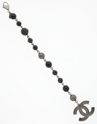 Chanel Black Bead Crystal CC Logo Charm Bracelet with Gunmetal Hardware Excellent Condition 8.5""