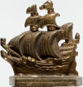 Books:Furniture & Accessories, [Bookends]. Small Single Brass Bookend Depicting Sailing Ship.Unmarked, undated. ...
