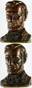 Books:Furniture & Accessories, [Abraham Lincoln]. [Bookends]. Pair of Matching Bookends DepictingAbraham Lincoln. Unmarked, undated. ... (Total: 2 Items)