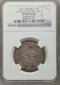 Mexico, Mexico: Revolutionary. Zacatecas 2 Reales 1811-LVO VF Details(Damaged) NGC,...