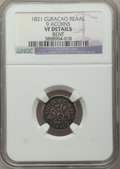 Curacao, Curacao: Kingdom of the Netherlands Reaal 1821 VF Details (Bent) NGC,...
