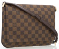 "Luxury Accessories:Accessories, Louis Vuitton Damier Ebene Canvas Musette Tango PM Bag. 10""Width x 8"" Length x 1.5"" Depth, 21"" Adjustable Shoulder Drop...."