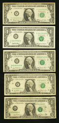 Error Notes:Error Group Lots, Errors and Fancy Number $1 FRNs Very Good-Fine or Better.. ...(Total: 5 notes)