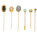 Estate Jewelry:Stick Pins and Hat Pins, Multi-Stone, Gold Stick Pins. ... (Total: 6 Items)