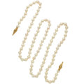 Estate Jewelry:Pearls, Cultured Pearl, Gold Necklace. ...