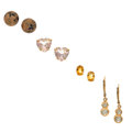 Estate Jewelry:Earrings, Multi-Stone, Diamond, Gold Earrings. ... (Total: 4 Items)
