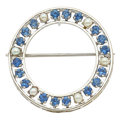 Estate Jewelry:Brooches - Pins, Sapphire, Cultured Pearl, White Gold Brooch. ...