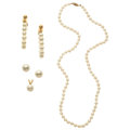 Estate Jewelry:Pearls, Cultured Pearl, Gold Jewelry. ... (Total: 4 Items)
