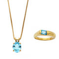 Estate Jewelry:Lots, Blue Topaz, Gold Jewelry. ... (Total: 2 Items)